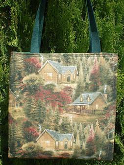 thomas kinkade cabin tote bag country woods