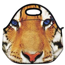 ICOLOR Tiger Face Insulated Neoprene Lunch Bag Tote Handbag