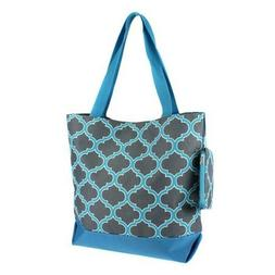 "Ever Moda Tote Bag -18""- Quatrefoil Tote-Gray Turquoise"