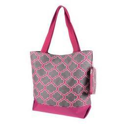 """Ever Moda Tote Bag -18""""- Quatrefoil Tote-Gray & Fuchsia"""