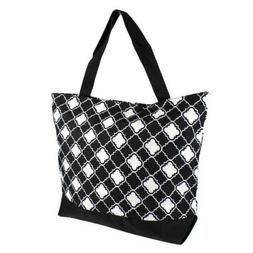 "Ever Moda Tote Bag - 18""- Tote Bag Quatrefoil White Black"