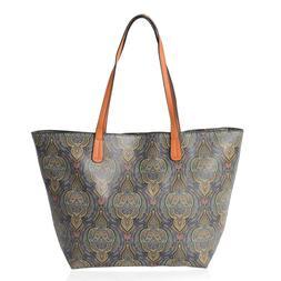 Tote Bag, Gold, Multi Color Floral Embossed