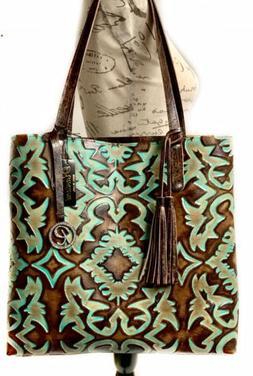 Raviani Tote Bag In Brown & Turquoise Southwestern Embossed