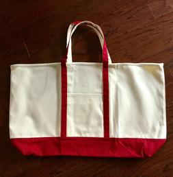"""Tote Bag Large Canvas Beach Boat Tote 25"""" in  Red"""