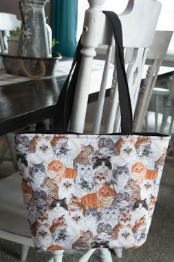 Handmade Tote Bag Purse Cats