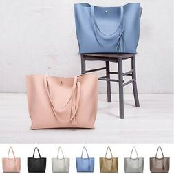 Tote Bag Women's Clasical Leather Tassel Shoulder Bags Large