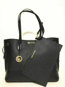 Michael Kors Trista Large Drawstring Tote Leather Bag Black