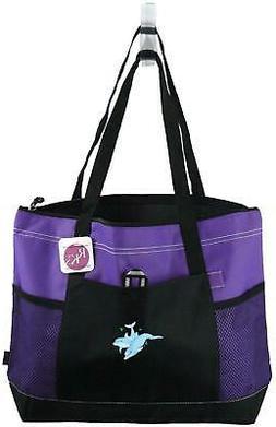 Tropical Dolphins Zipper Tote Bag Gemline Select Purple Beac