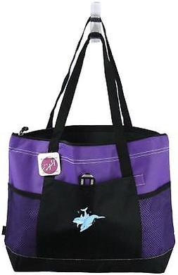 Tropical Dolphins Zipper Tote Bag Gemline Select Purple Beac