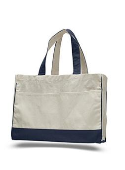 "17"" Two Tone Cotton Canvas Shopping Tote Bag w/Large Front P"
