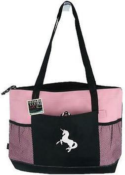 Unicorn Gemline Pink Zipper Tote Bag Monogram Mythical Magic