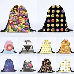 Unisex Drawstring Backpack Cinch Sack Tote Bags Emoji Patter
