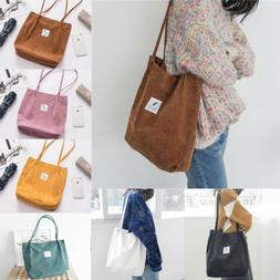 US Casual Women's Canvas Corduroy Tote Bags Handbag Shoulder