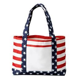 US Flag Stars & Stripes Tote Bag - Patriotic Handbag - Polye