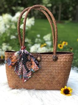 US Seller Handmade Woven Tote Bag Natural Papyrus Fiber Wome