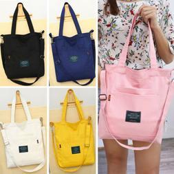 US Women's Canvas Black Handbag Shoulder Messenger Bag Satch