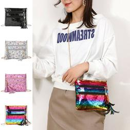 US Women's Long Chain Shoulder Bag Holographic Bags Tote Sat