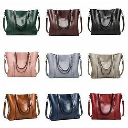US Women's Luxury Oil Wax Leather Handbag Shoulder Bag Messe