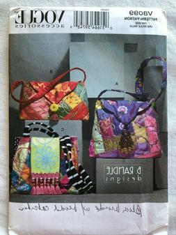Vogue V8099 UNCUT Set of Three Lined Bags Pattern - Purse Ha