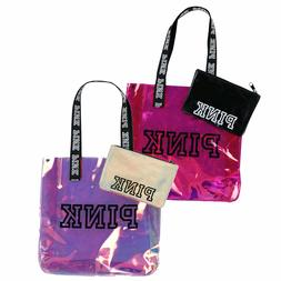Victoria's Secret Pink Tote Bag Set Chrome Travel Expandable