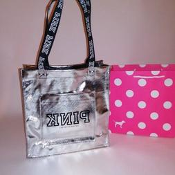 Victoria Secret PINK Tote Bag Silver Black Logo Shiny Front
