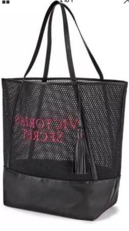 Victorias Secret Black Mesh Gym Handbag Beach Weekender Trav