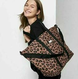 Victorias Secret Pink Weekender LARGE Canvas Tote Bag Leopar