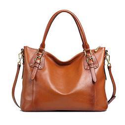 Kattee Womens Vintage Genuine Soft Leather Tote Shoulder Bag
