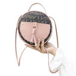 Vintage Scrub Leather Round Designer Crossbody <font><b>Bag<