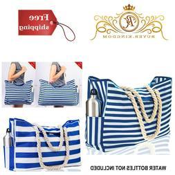waterproof beach bags shoulder tote stripes blue
