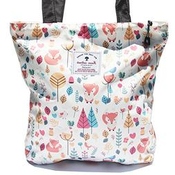 Waterproof Tote Bag,Original Floral Leaf Lightweight Fashion