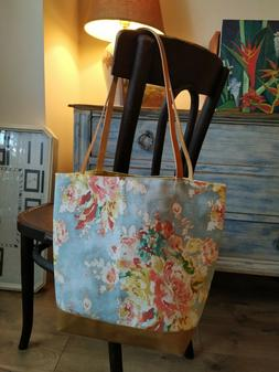 waxed cotton tote bag with leather handles