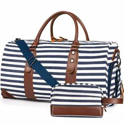 Oflamn Weekender Bags Canvas Leather Duffle Bag Overnight Tr