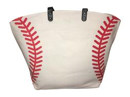 white baseball seam canvas tote bag purse