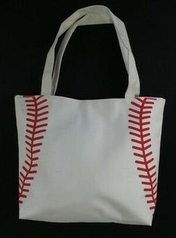 White Baseball Stitch Totes Shopping Bag Tote Mom Purse Carr