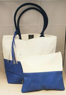 White Blue Tote Bag Set 2 Large Clutch Faux Leather Cotton B