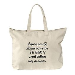 Winnie The Pooh Quote Canvas Beach Zipper Tote Bag Tote