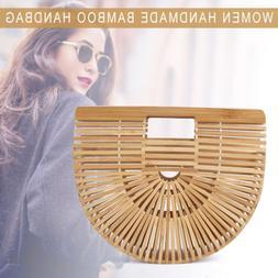 Women Bamboo Handbag Handmade Beach Fashion Bag Large Tote B