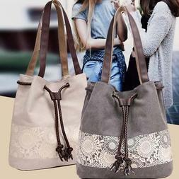 Women Canvas Shoulder Handbag Large Capacity Shopping Leisur