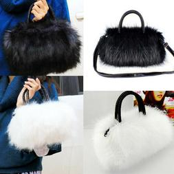 Women Girls Faux Rabbit Fur Handbag Shoulder Messenger Bag S