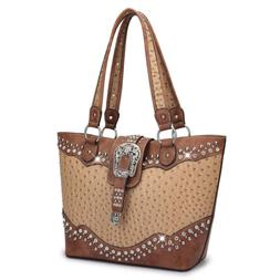 Dasein Women Handbag Rhinestone Shoulder Bag Tote Vintage Pu