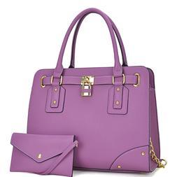 Women Handbags Top Handles Satchel Tote Bag with Padlock Pur