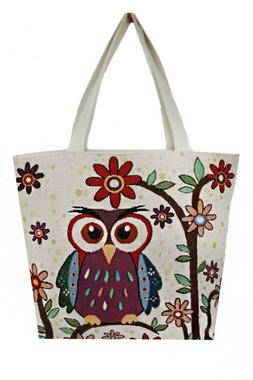 Women Canvas Hobo Beach_Shopping Tote Bag With Various Owl P