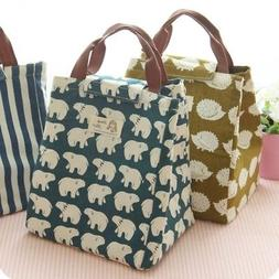 Women Kids Lunch Bags Insulated Canvas Bag Tote Bag Portable