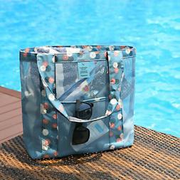 Women Shopping Mesh Shoulder Bags Handbag Beach Bag Large Cl