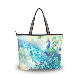 Women Large Tote Top Handle Shoulder Bags Peacock Patern Lad