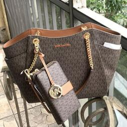 Michael Kors Women Leather Shoulder Tote Chain Handbag Purse