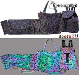 women luminous geometric handbag shoulder bag set folding To