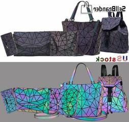 women luminous geometric shoulder bag set folding Totes hand