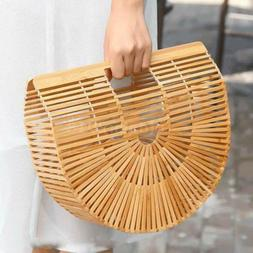 Women's Bamboo Handbag Beach Moon Bag Lady Tote Fashion Hand
